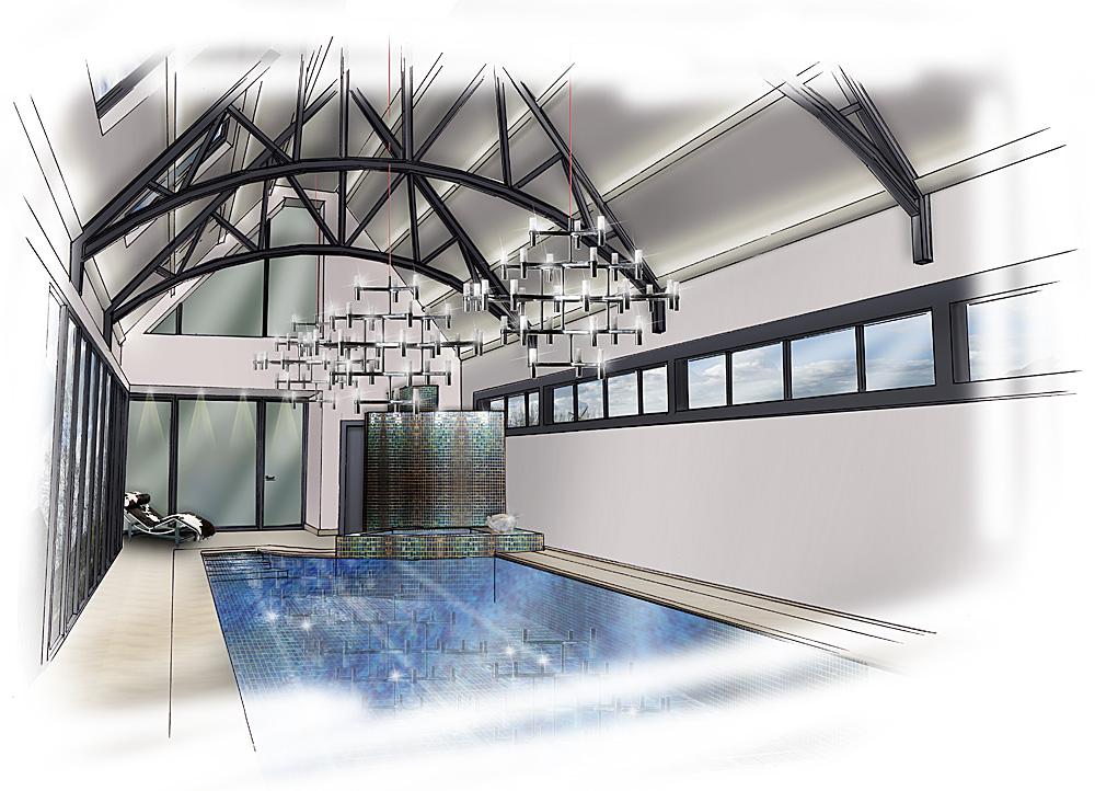 Zwart wit wellness design zwembad ontwerp
