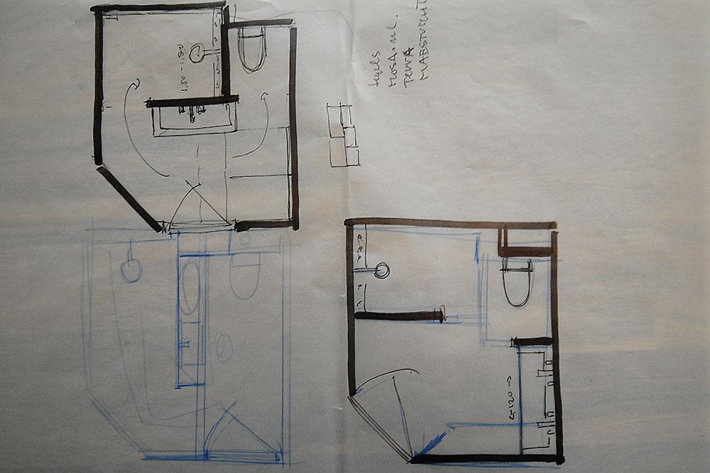M badkamer ontwerp schetsen versteegh design architecture